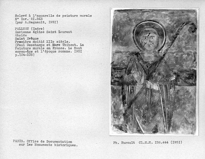 Relevé de peinture murale côté nord de l'abside : Saint Evèque