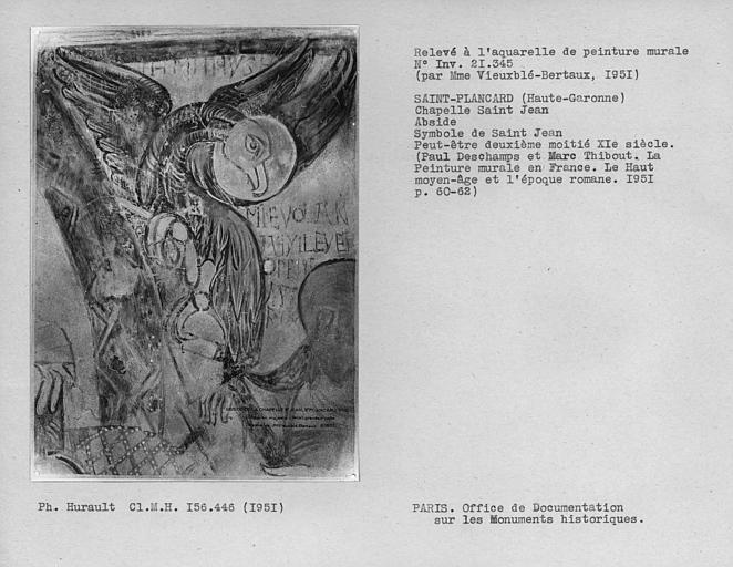 Relevé de peinture murale de l'abside : Symbole de Saint-Jean