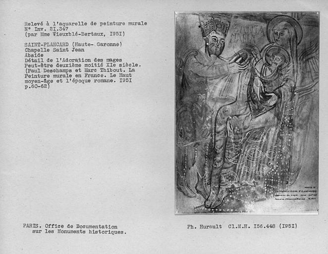 Relevé de peinture murale de l'abside : Mage et Vierge à l'Enfant