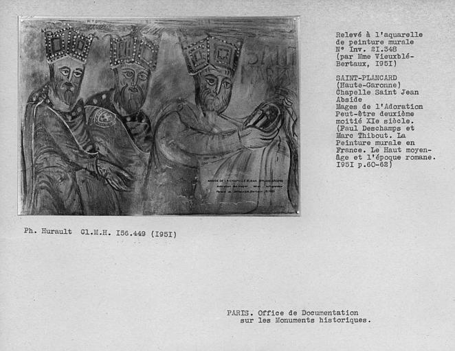 Relevé de peinture murale de l'abside : trois mages