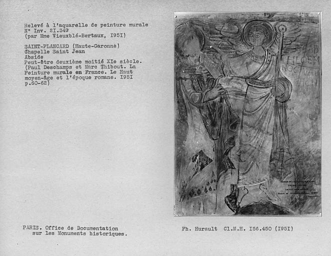 Relevé de peinture murale de l'abside : Les Elus, détail