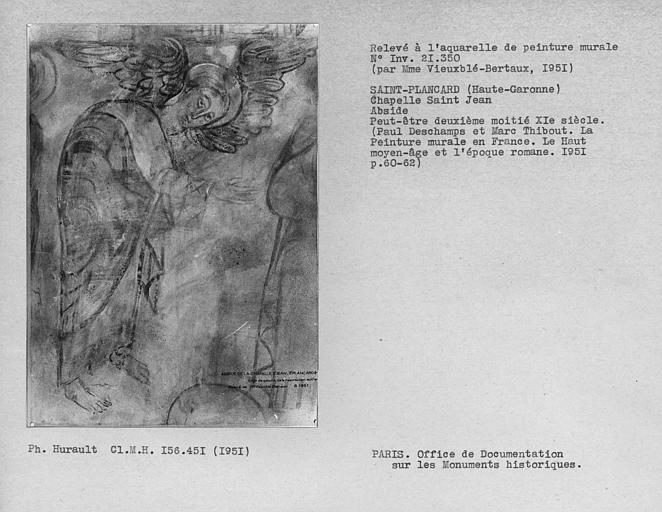 Relevé de peinture murale de l'abside : ange à gauche de la Résurrection