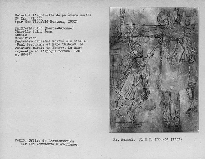 Relevé de peinture murale de l'abside : Crucifixion