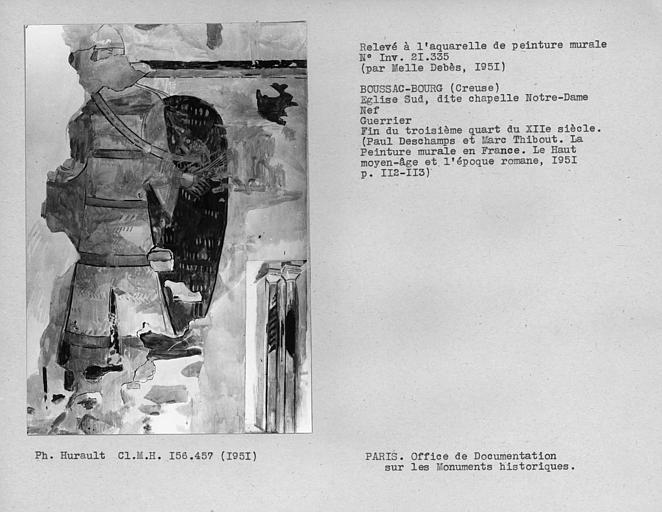Relevé de peinture murale du côté sud de l'abside : guerrier