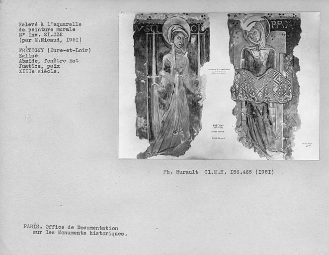 Relevé de peinture murale de la fenêtre centrale de l'abside romane