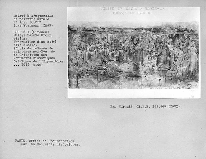 Relevé de peinture murale : funérailles d'un évèque