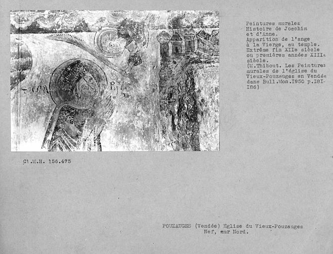 Peinture murale du mur nord de la nef : Apparition de la Vierge au temple