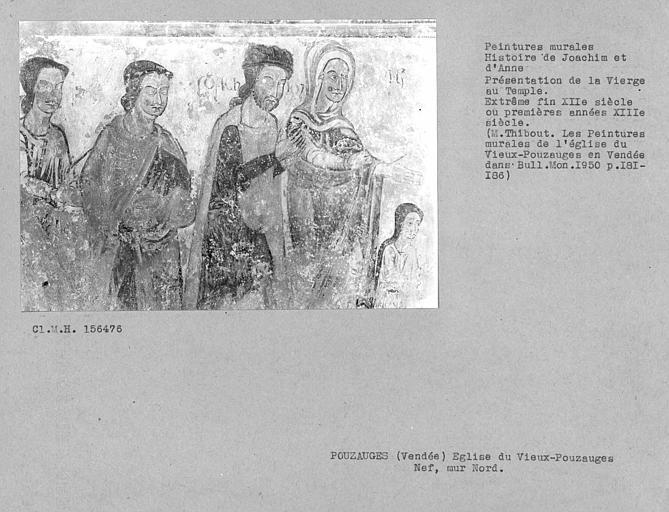 Peinture murale du mur nord de la nef : Présentation de la Vierge au temple