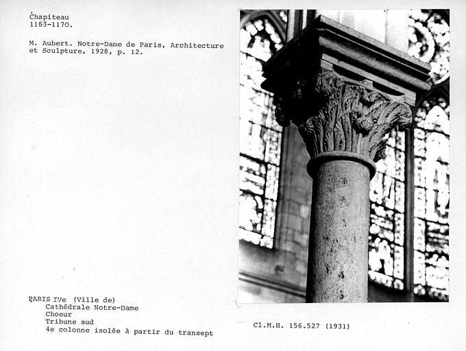 Chapiteau de la quatrième colonne isolée à partir du transept, tribune sud du choeur