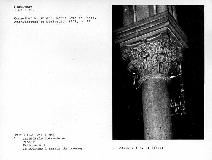 Chapiteau de la troisième colonne à partir du transept, tribune sud du choeur