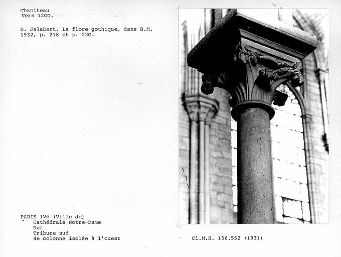 Chapiteau de la quatrième colonne isolée à l'ouest de la tribune sud de la nef