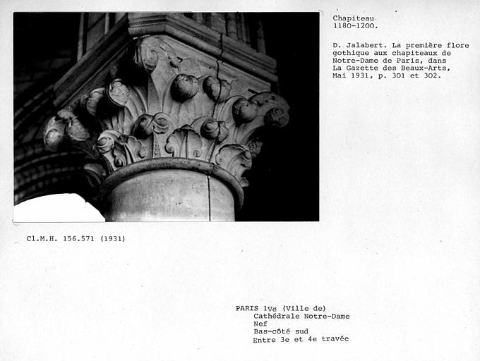 Chapiteau de colonne du collatéral sud de la nef, entre les troisième et quatrième travées