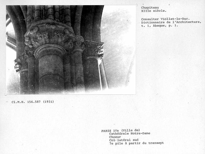 Chapiteaux du collatéral du choeur, septième pile à partir du transept