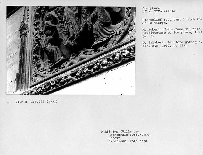 Extérieur, bas-relief sculpté du côté nord du choeur : Assomption