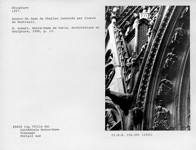 Extérieur, portail du bras sud du transept, détail des sculptures