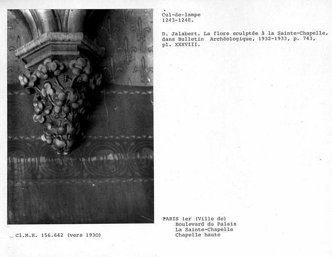 Cul-de-lampe de colonne de la chapelle haute