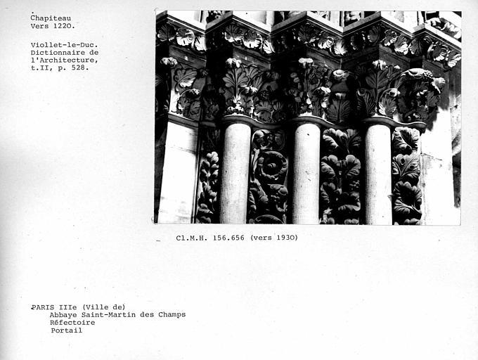 Chapiteaux du portail du réfectoire, détail