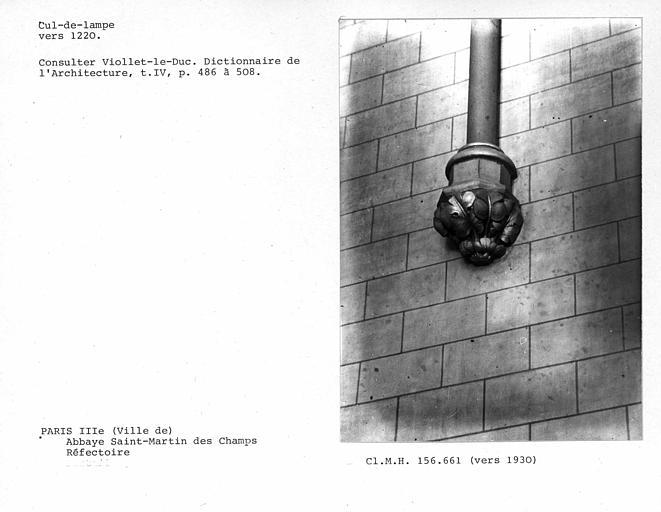 Cul-de-lampe à l'intérieur du réfectoire