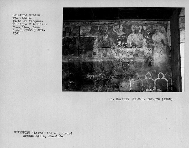 Peinture murale de la cheminée de la grande salle : Repas chez Simon, détail de la partie droite