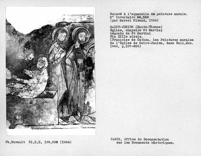 Relevé de peinture murale de la chapelle de Saint-Martial : légende de Saint-Martial