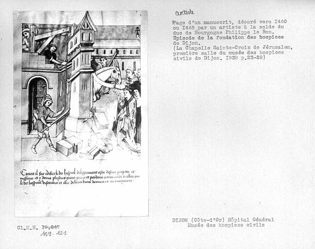 manuscrit enluminé : histoire de la fondation de l'hôpital du Saint-Esprit de Dijon