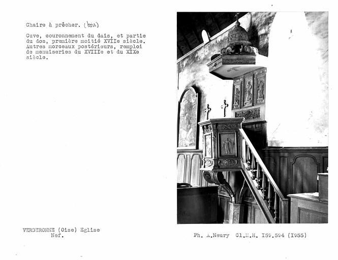 Chaire à prêcher de la nef, cuve, couronnement du dais et partie du dos du 17e siècleme, remploi de menuiseries du XVIIIe et du XIXe