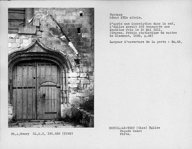Vantaux de porte de la façade ouest
