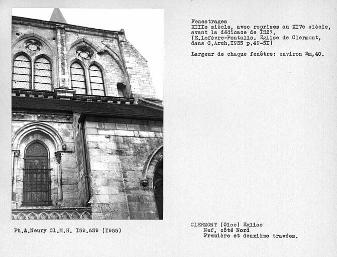 Fenestrages nord de la nef, fenêtres hautes des première et deuxième travées