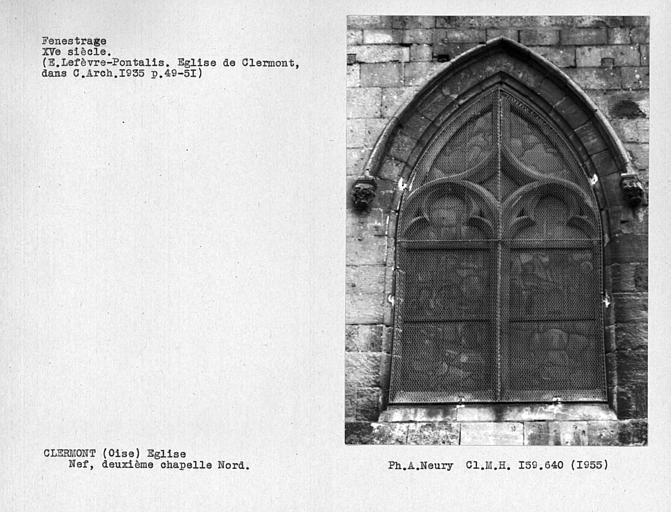 Fenestrage de la deuxième chapelle nord de la nef, troisième travée de l'église