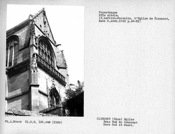 Fenestrages sud et ouest du bras sud du transept