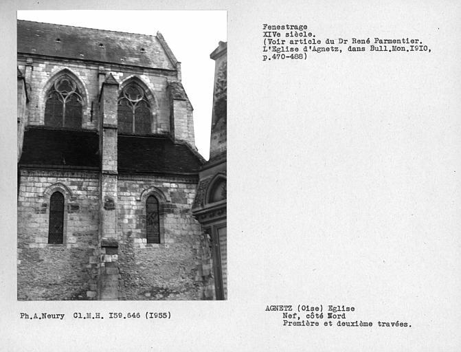 Fenestrage nord de la nef, première et deuxième fenêtres hautes