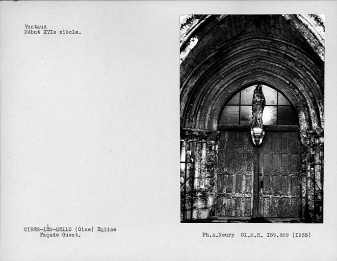 Porte et vantaux de la façade ouest