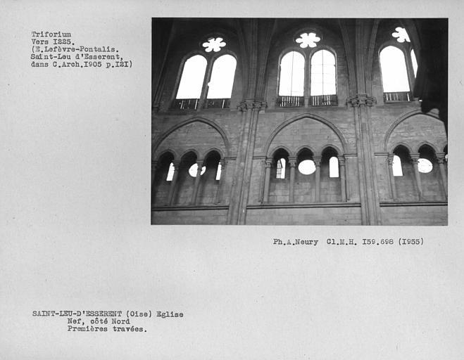 Fenestrages de la nef côté nord, premières travées, triforium