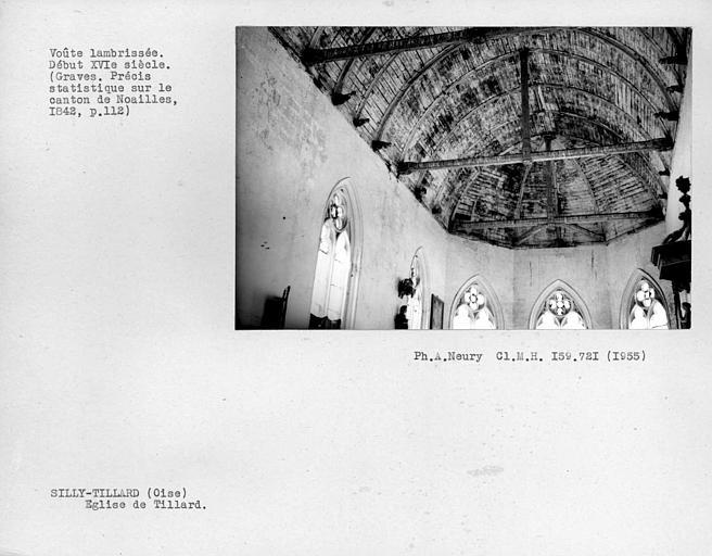 Charpente lambrissée de la nef et du choeur