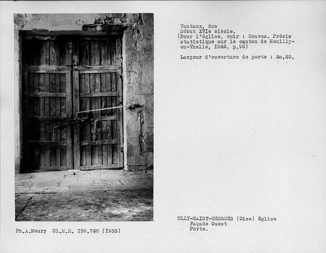 Dos des vantaux de porte de la façade ouest