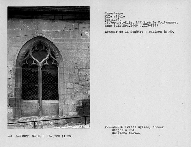 Fenestrage restauré de la deuxième travée de la chapelle sud du choeur