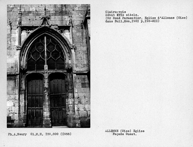 Vantaux de porte et fenestrage de la façade ouest