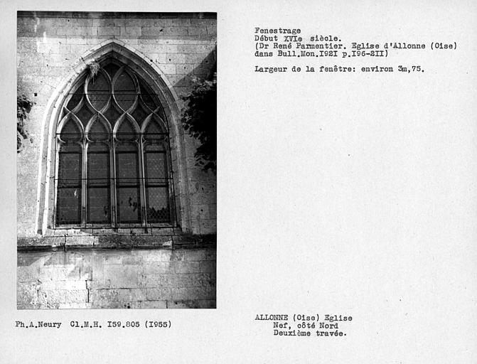 Fenestrage de la deuxième travée côté nord de la nef