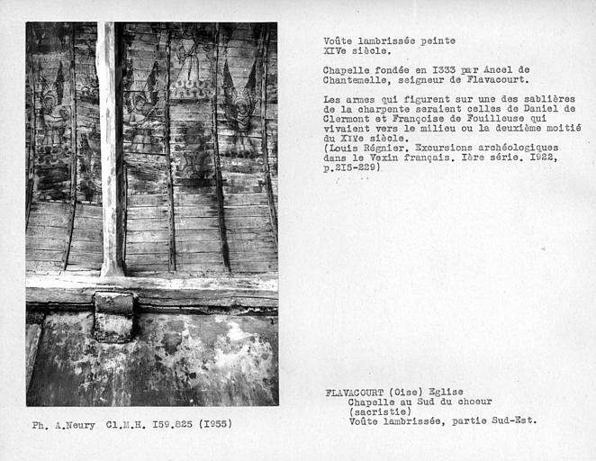Sacristie, chapelle aussi au sud du choeur, partie sud-ouest de la charpente lambrissée peinte