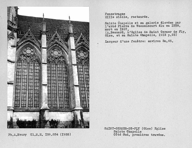 Fenestrages restaurés de la chapelle, première travées du côté sud