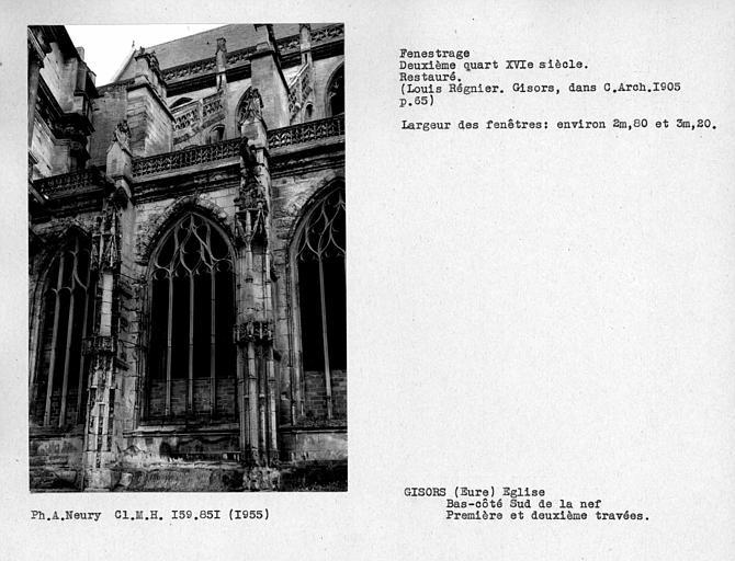 Fenestrage restauré du bas-côté sud de la nef, première et deuxième travées