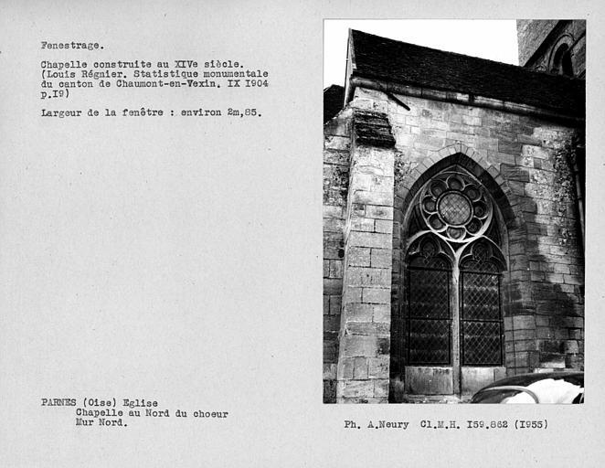 Fenestrage du mur nord de la chapelle au nord du choeur