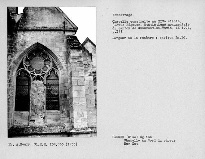 Fenestrage du mur est de la chapelle au nord du choeur