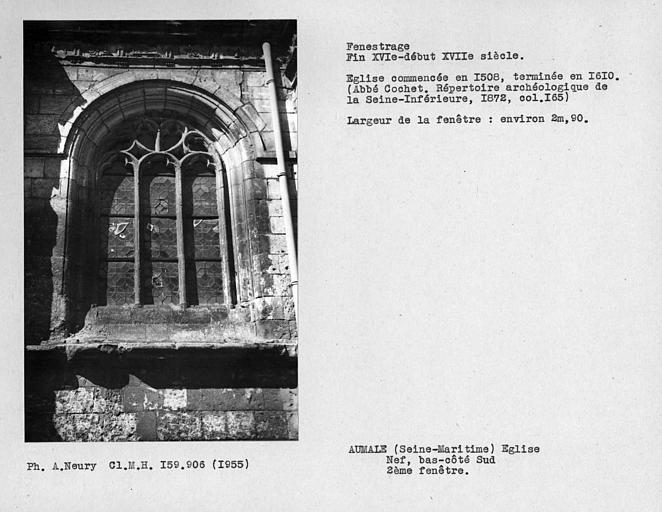 Fenestrage du bas-côté sud de la nef, deuxième fenêtre