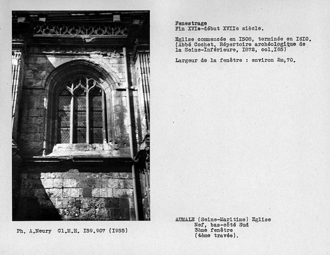 Fenestrage du bas-côté sud de la nef, troisième fenêtre, quatrième travée
