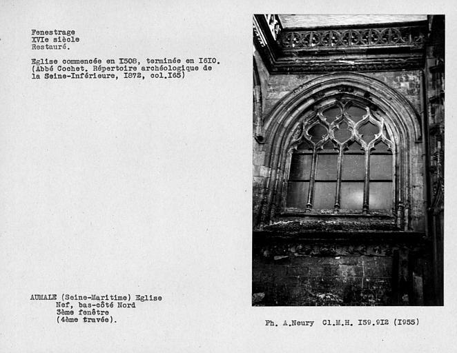 Fenestrage restauré du bas-côté nord de la nef, troisième fenêtre, quatrième travée
