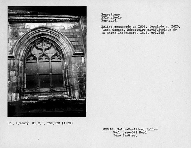 Fenestrage restauré du bas-côté nord de la nef, deuxième fenêtre