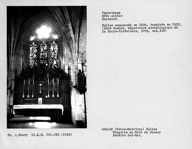 Fenestrage restauré de la chapelle au nord du choeur, fenêtre sud-est
