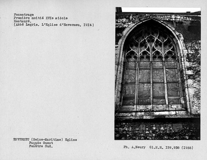 Fenestrage restauré de la façade ouest, fenêtre sud
