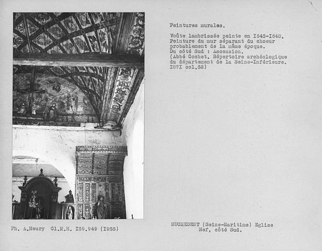 Nef, peinture murale de la face vers nef du mur au-dessus de l'arc triomphal : Ascension